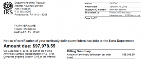 CP 508C certification of seriously delinquent federal tax debt